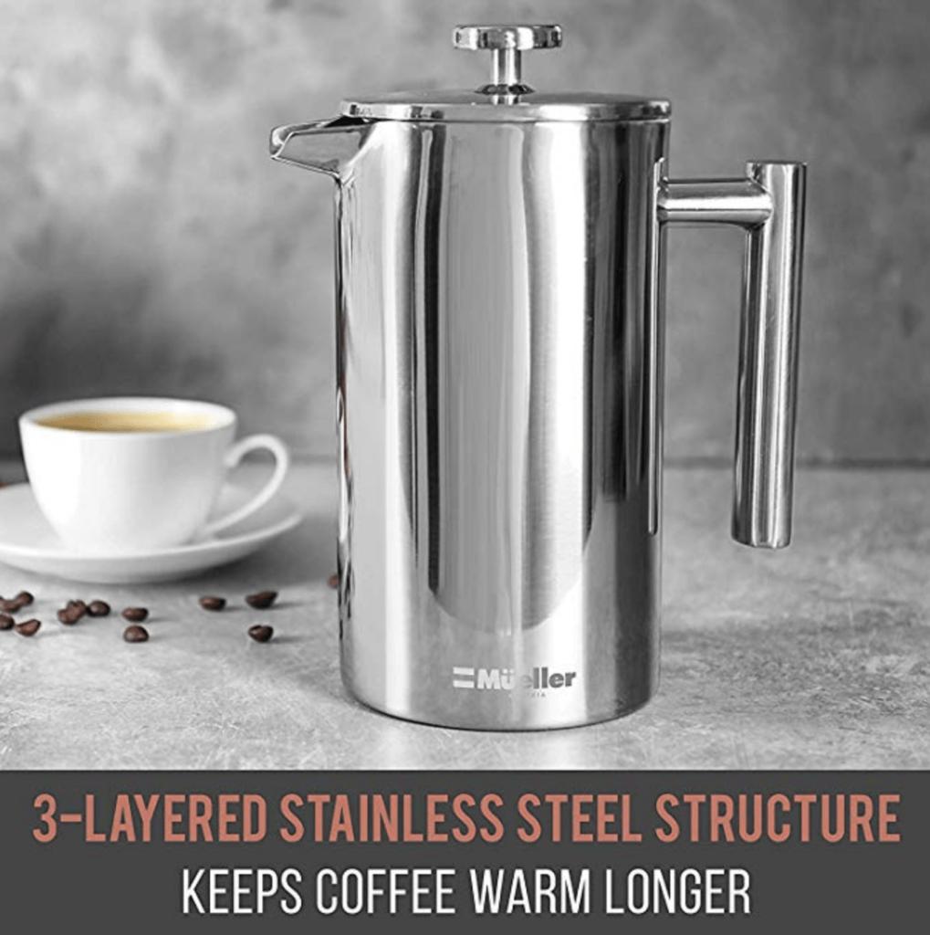 Mueller French Press Coffee Maker - Review keeps coffee warm longer