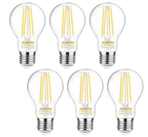 Ascher 60 Watt Equivalent, E26 LED Filament Light Bulbs