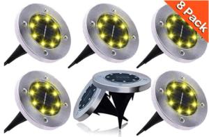 Solar Ground Lights 8 LED Warm White Lights (8 Pieces)