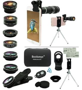 Bostionye Cell Phone Camera Lens Kit,11 in 1 Universal 20x Zoom Telephoto Lens